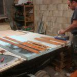 Holzteile für die Kabine wurden neu lasiert